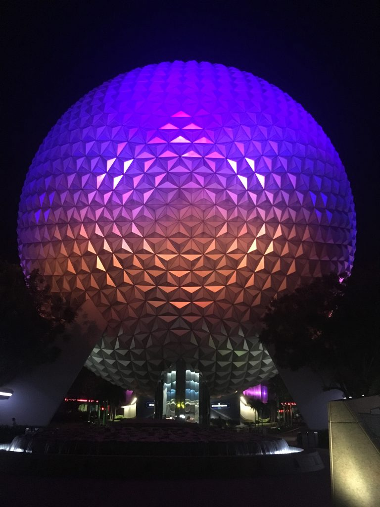 EPCOT at Night Spaceship Earth don't miss it to avoid Epcot Mistakes