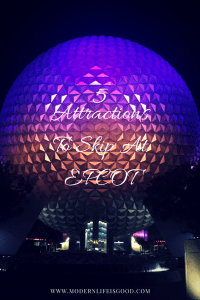 Our Top 5 Attractions to Skip at EPCOT if you are limited with time when visiting Walt Disney World including our number one Mission Space.