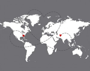 World Map Hearts Grey