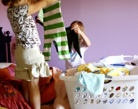 Kids Folding Clothes