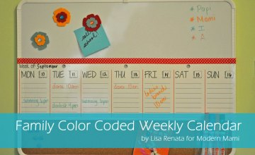 Keep Track of Your Family's Schedule with this DIY Family Color-Coded Weekly Calendar