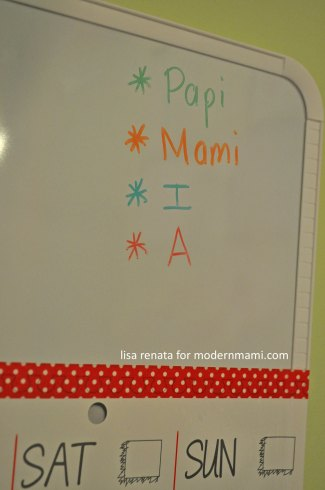 Write your family's names on calendar board, each in a different color