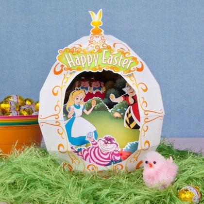 Alice in Wonderland Easter Egg Diorama Printable Template