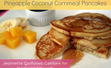 Breakfast Pancakes with a Twist: Pineapple Coconut Cornmeal Pancakes {Recipe}