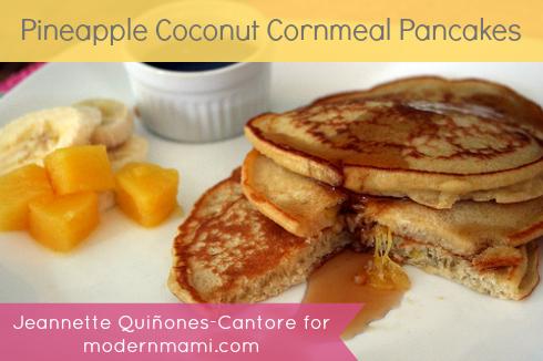 Pineapple Coconut Cornmeal Pancakes Recipe