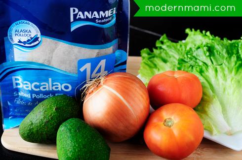 Main Ingredients for Puerto Rican Codfish Salad, Ensalada de Bacalao