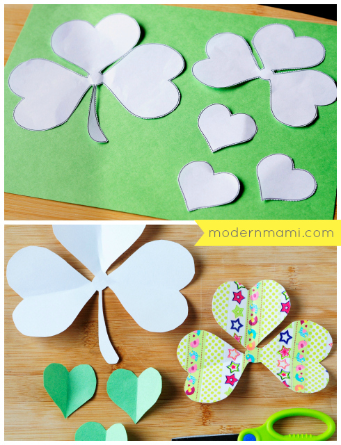 St. Patrick's Day Shamrock Crafts for Kids, Cutting Template and Flower Pieces