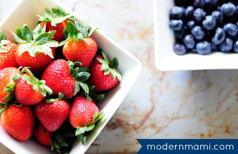 Homemade Strawberry Banana Waffles with Fresh Berries