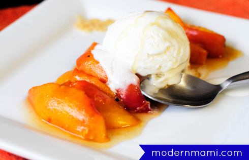 Easy Grilled Peaches Recipe with Vanilla Ice Cream and Honey