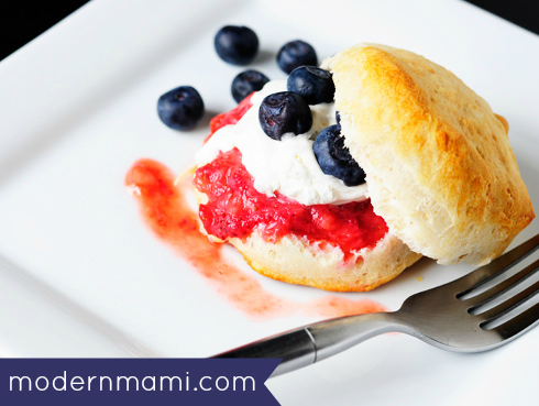 Strawberry Biscuit Shortcake: 4th of July Inspired Red White and Blue Dessert