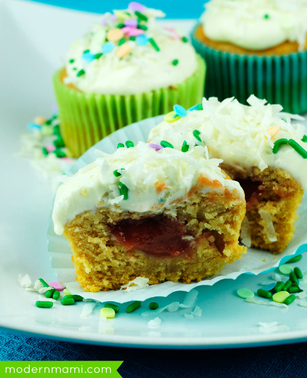 Guava Filled Cupcakes with Cream Cheese Frosting