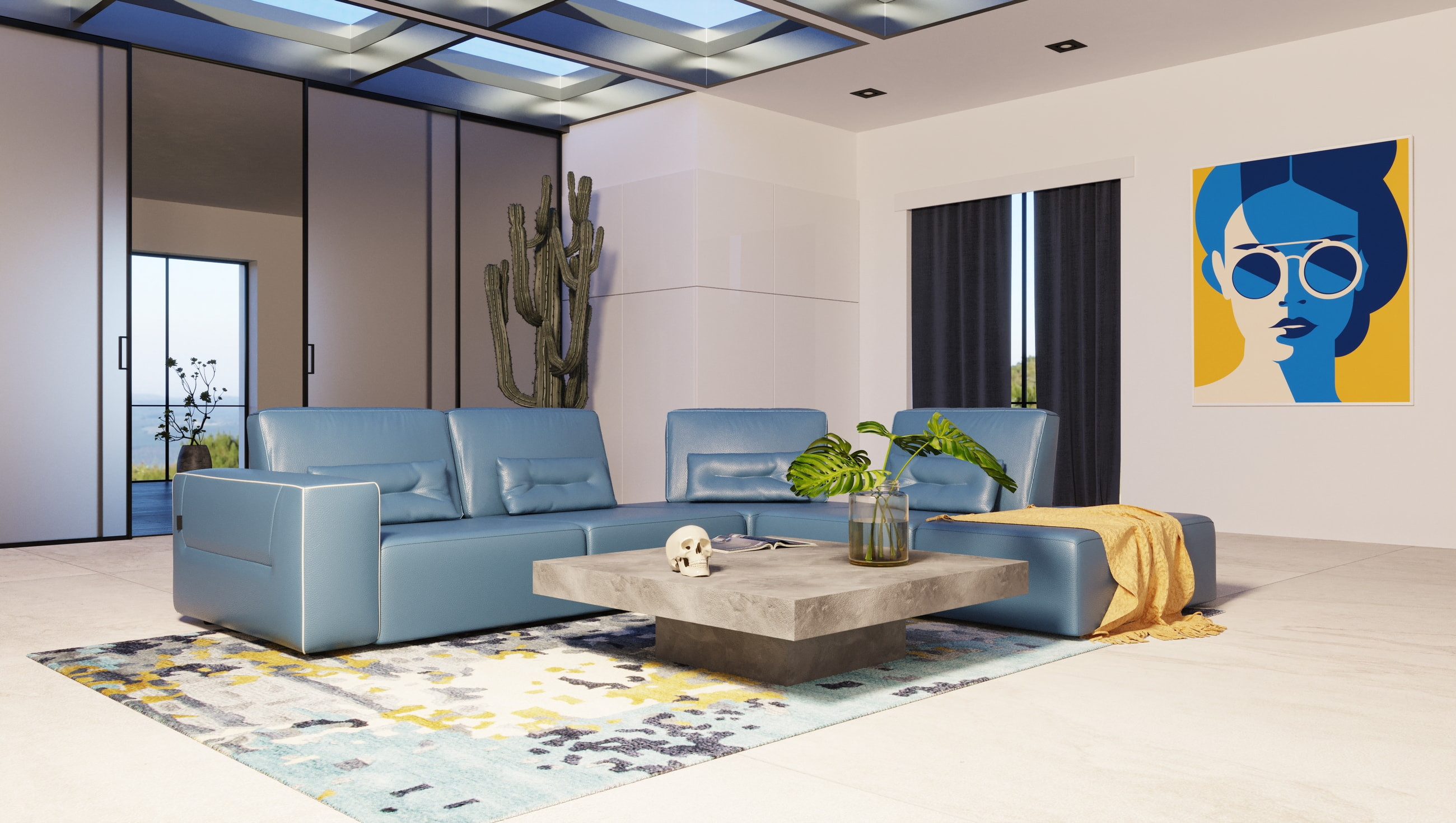 modern italian blue leather sectional sofa