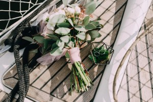 Rustic Wedding Flowers - Wedding bouquet on a wooden table