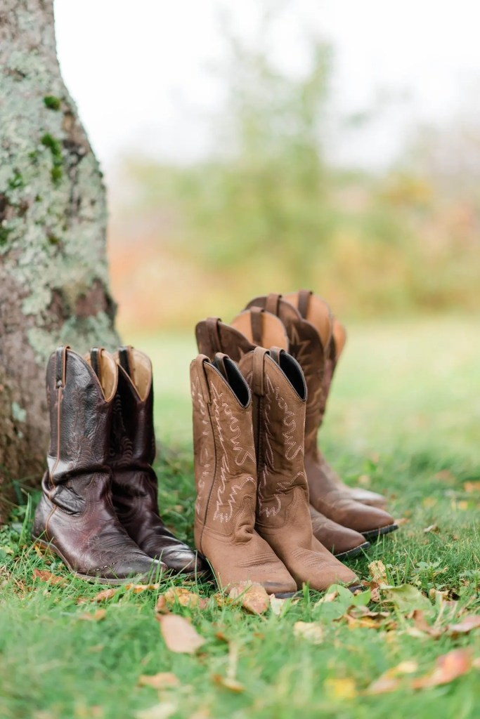 The image depicts two pairs of cowboy boots. Are these the ideal shoes for eloping in Scotland?