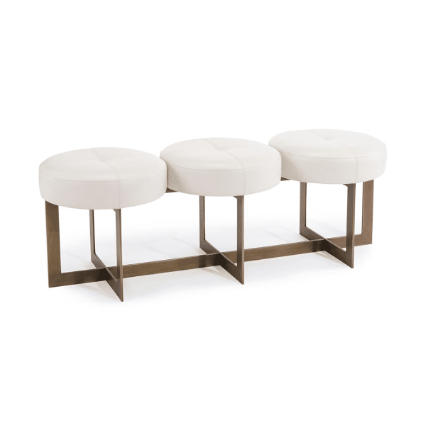 benches and ottomans white leather button bench