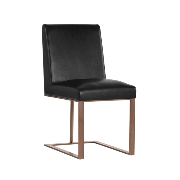 dean dining chair in black and antique brass
