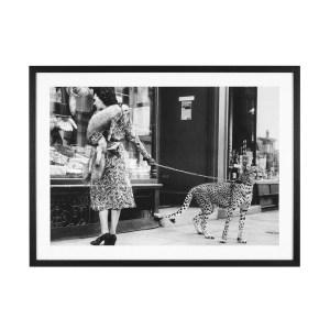 accessories elegant woman with cheetah wall art