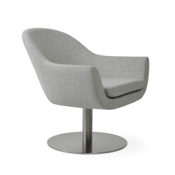 living room madison round swivel chair silver camira wool