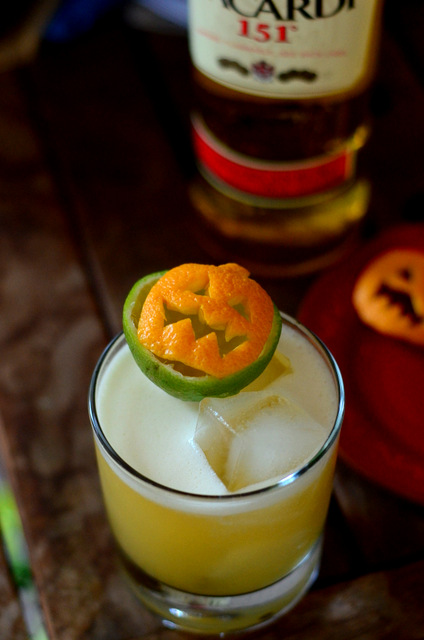 Prepping a Flaming Jack o' Lantern Tiki Garnish