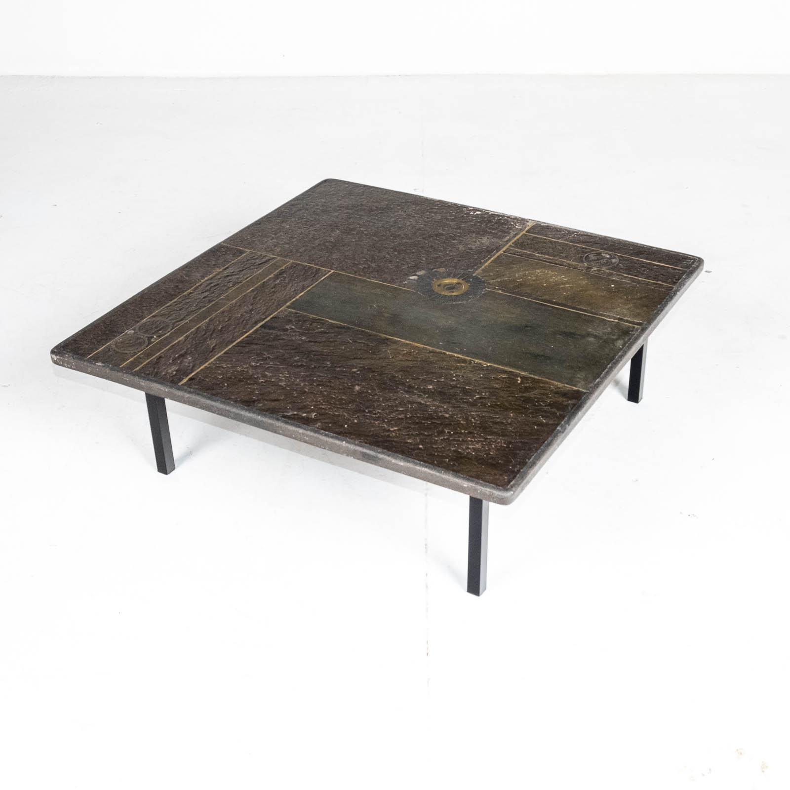 square coffee table by paul kingma in stone slate and brass 1970s the netherlands