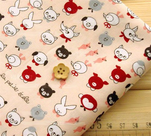 kawaii animals fabric