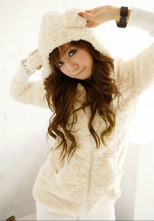 Cute beige kawaii Hoodie from Japan