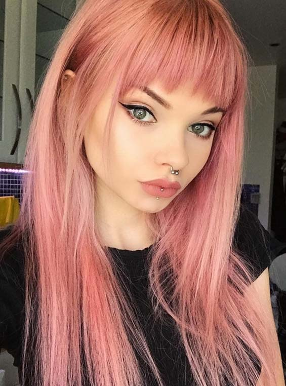 Gorgeous Pink Hair Colors Amp Hairstyles With Front Bangs