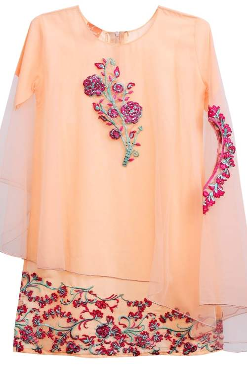 Embroidered Stylish Peach Cape