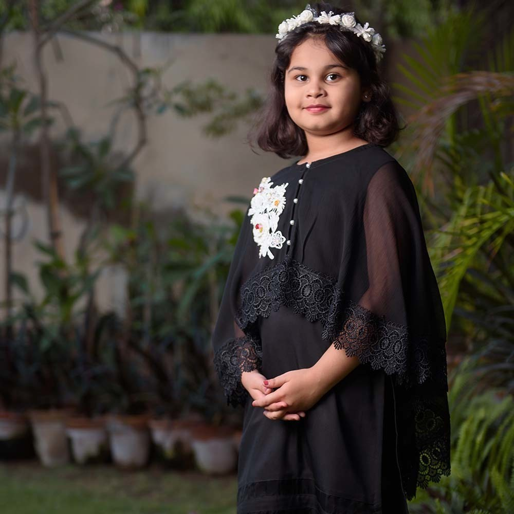 kids black party dress