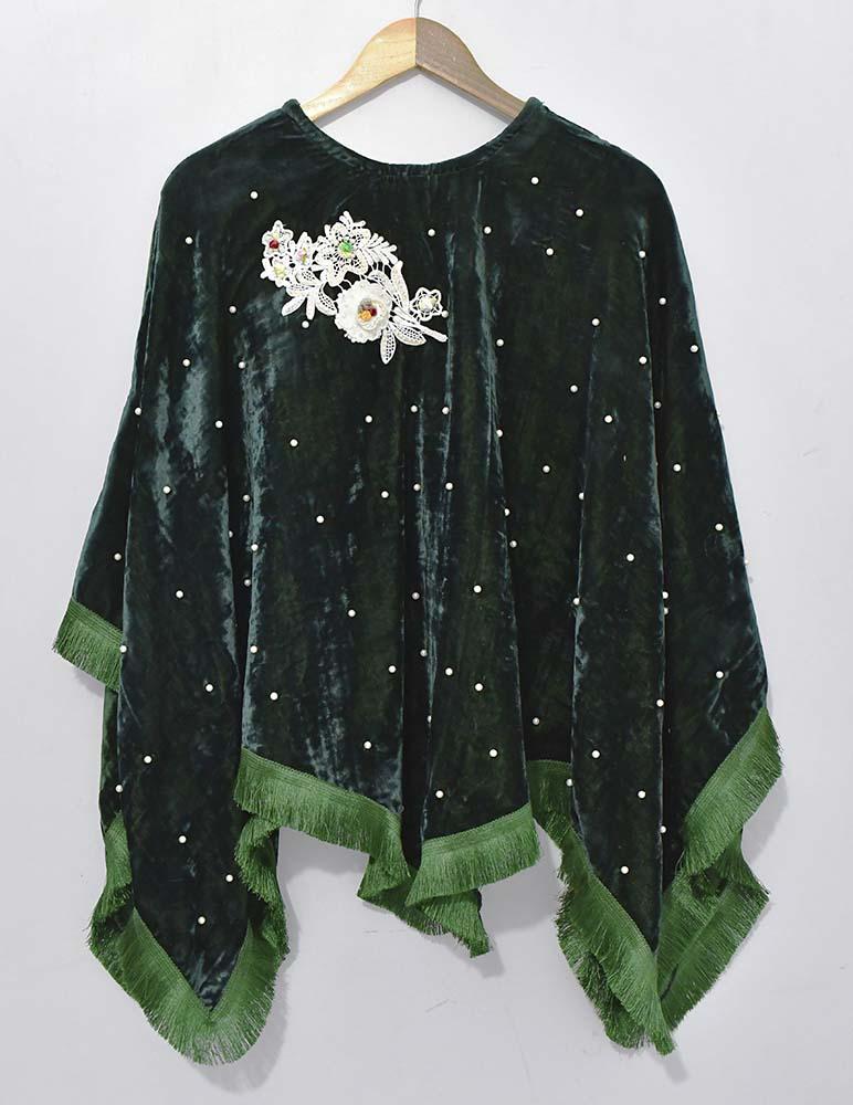 winters green velvet dress
