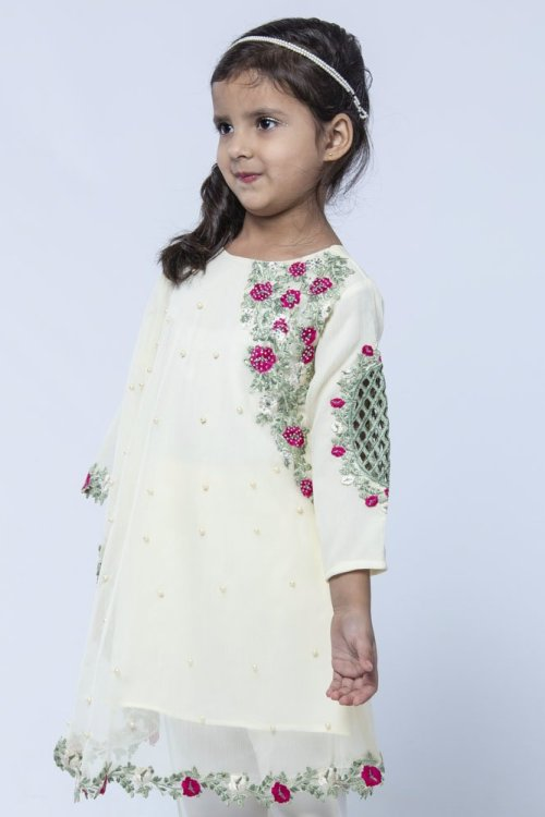 girls embroidered white cape
