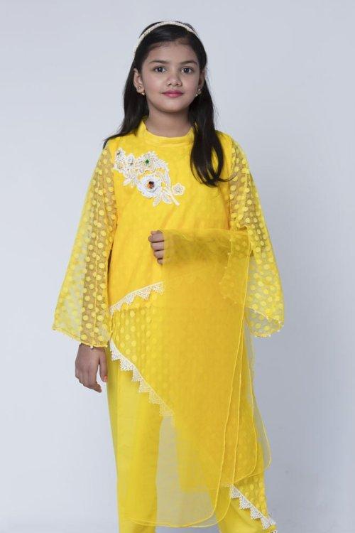 girls yellow net dress