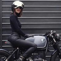 Hot girl with a Custom 1978 BMW R 45 Cafe Racer
