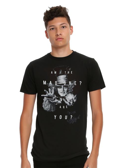Handsome Male Model Wearing an Alice in Wonderland Mad Hatter T-Shirt