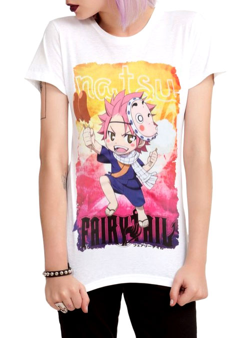 Female Model Wearing a Chibi Natsu Fairy Tail Anime T-Shirt