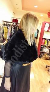 Γουνάκι μαύρο με φούστα