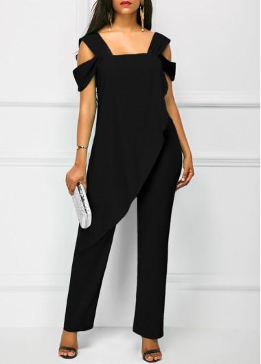 Modlily Black Backless Jumpsuit Open Back Overlay Wide Strap Black Jumpsuit - S