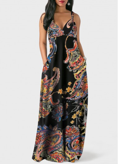Modlily Boho Dress Sleeveless V Neck Spaghetti Strap Bohemian Print Pocket Dress - XL