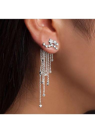 Modlily Chain Tassel Rhinestone Embellished Silver Earrings - One Size