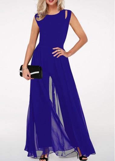 Modlily Round Neck High Waist Royal Blue Jumpsuit - L