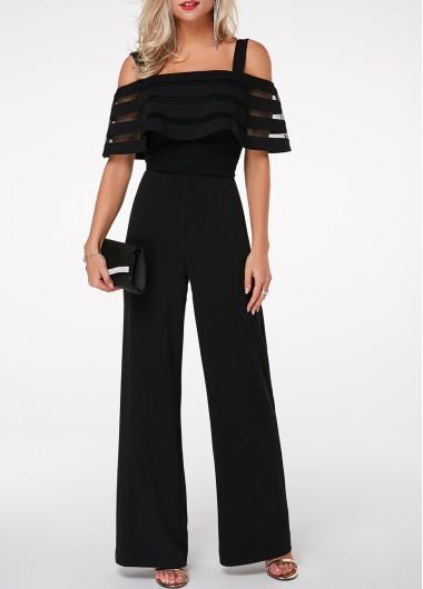 Modlily Black Jumpsuit Cold Shoulder Jumpsuit Strappy Jumpsuit Overlay Embellished Jumpsuit for Women - L
