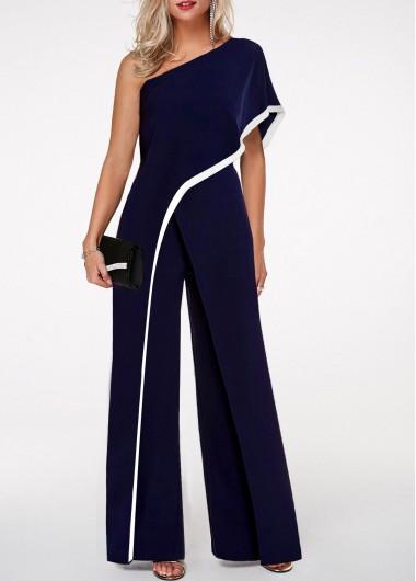 Modlily Navy Blue Jumpsuit One Shoulder Jumpsuit Contrast Trim Jumpsuit for Women - XL