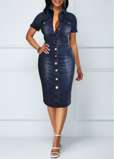 Modlily Button Up Chest Pocket Turndown Collar Denim Dress - XL
