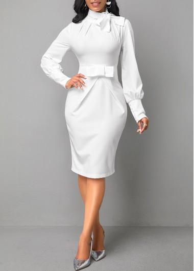 Modlily Bow Collar Long Sleeve White Dress - M