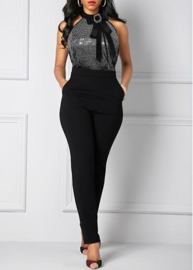 Modlily Bowknot Embellished Sequin Detail Side Pocket Jumpsuit - M