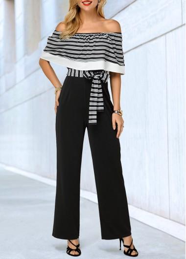 Modlily Off the Shoulder Stripe Print Belted Jumpsuit - XS