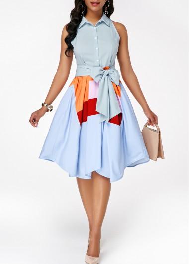 Modlily Button Front Sleeveless Asymmetric Hem Belted Dress - XXL