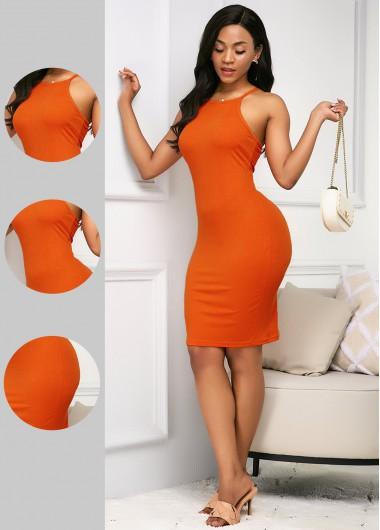 Modlily Bib Neck Sleeveless Orange Sheath Dress - XXL