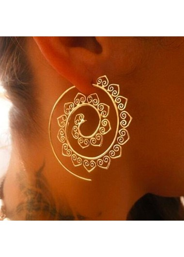 Modlily Spiral Design Gold Metal Earring Set - One Size