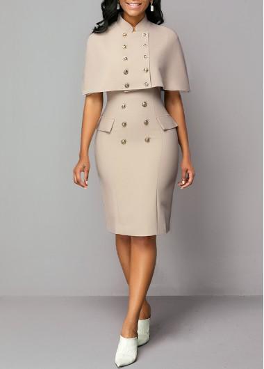 Modlily Button Detail Cap Shoulder Top and Back Slit Dress - M